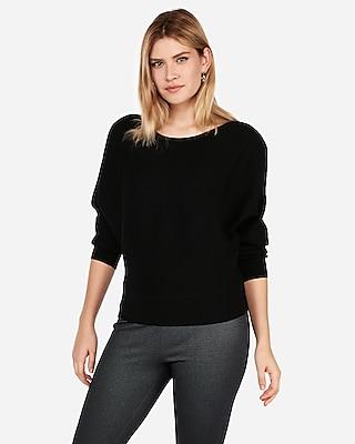 Express Womens Horizontal Ribbed Dolman Sleeve Sweater 08260217