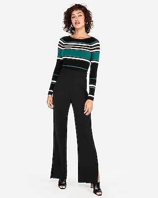 Express Womens Striped Ribbed Bateau Neck Sweater Black Women's Xs Black Xs