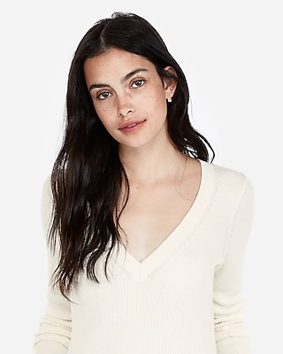 Express Womens Ribbed V-Neck Sweater White Women's Xl White XL