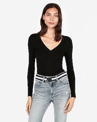Express Womens Ribbed V-Neck Sweater Black Women's S Black S
