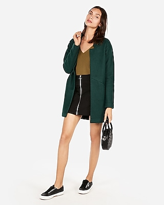Express Womens Ribbed V-Neck Sweater Green Women's S Green S