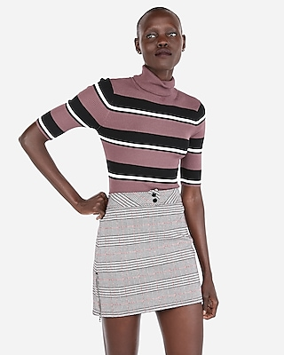Express Womens Stripe Ribbed Elbow Sleeve Turtleneck Sweater