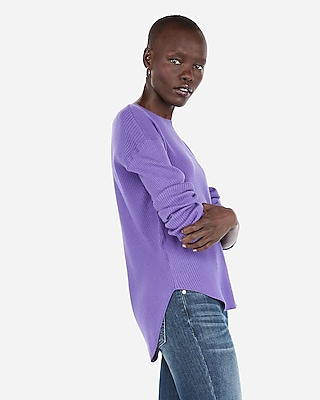 Express Womens Ribbed Shirttail Hem Sweater Purple Women's Xxs Purple Xxs