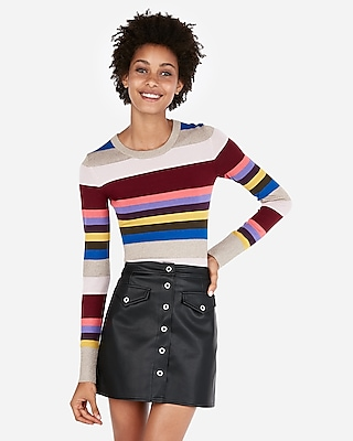 Express Womens Stripe Crew Neck Sweater