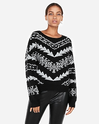 Express Womens Mitered Geometric Pullover Sweater