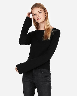 Express Womens Bell Sleeve Cropped Pullover Sweater