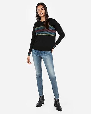 Express Womens Rainbow Stripe Crew Neck Sweater