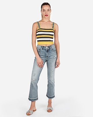 Express Womens Scallop Detail Cropped Sleeveless Sweater