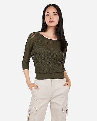 Express Womens Lace Stitch Dolman Sleeve Pullover Sweater Green Women's Xs Green Xs