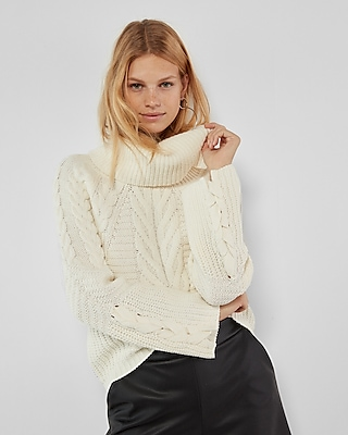 Express Womens Petite Cowl Neck Cable Knit Sweater