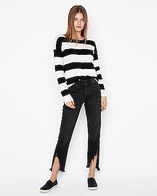 Express Womens Striped Crew Neck Shirttail Hem Pullover Sweater