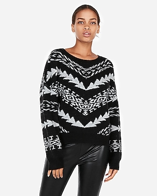 Express Womens Petite Mitered Geometric Pullover Sweater