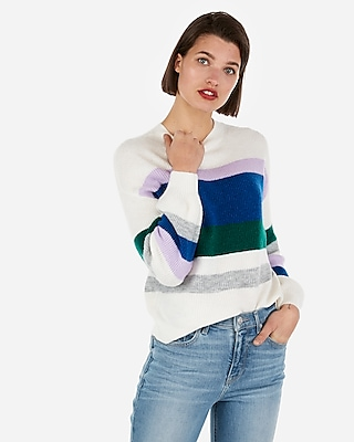 Express Womens Striped Balloon Sleeve Pullover Sweater