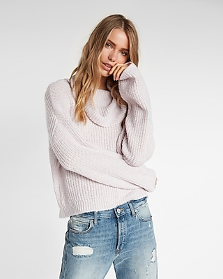 Express Womens Metallic Cowl Neck Sweater