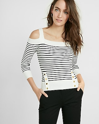 Express Womens Striped Fitted Ribbed Cold Shoulder Sweater