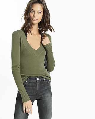 Express Womens Fitted V-Neck Sweater Green X Small