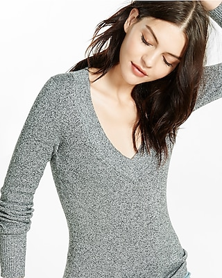 Express Womens Marled Fitted V-Neck Sweater