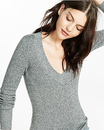 marled fitted v-neck sweater