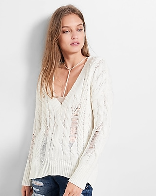 Express Womens Deep-V Cable Knit Sweater