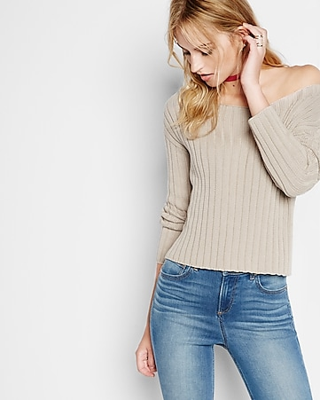 wide ribbed bateau neck abbreviated sweater