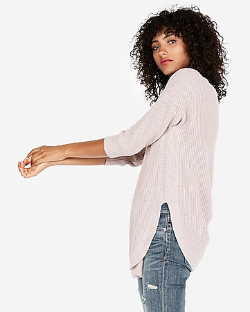 shaker knit circle hem sweater