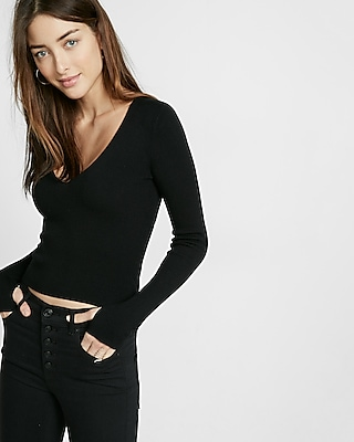 Express Womens Open-Back Fitted Sweater Black XX Small