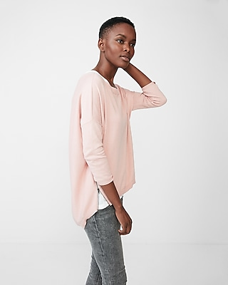 Express Womens Side Zip Hi-Lo Hem Crew Neck Sweater