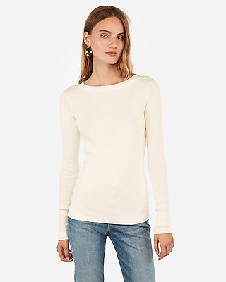 Express Womens Fitted Crew Neck Sweater White Large