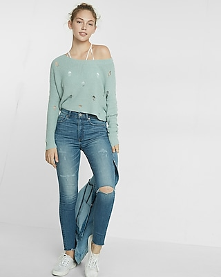 Express Womens Destroyed Knit Sweater