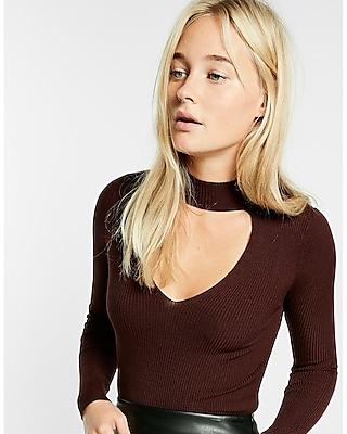 Express Womens Long Sleeve Ribbed Cut-Out Choker Tee