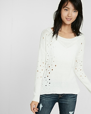Express Womens Destroyed Hi-Lo Popover