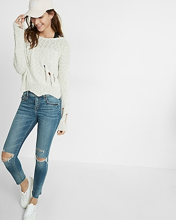 distressed jagged hem cropped sweater