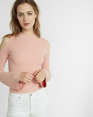 Express Womens Bell Sleeve Cold Shoulder Sweater Pink XX Small