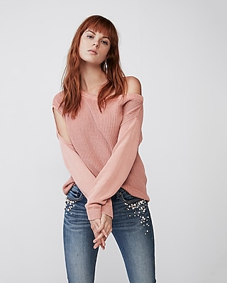 Express Womens Cut-Out Shoulder Sweater