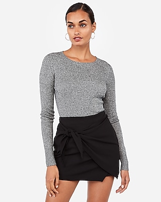 Express Womens Marled Fitted Crew Neck Sweater Black XX Small