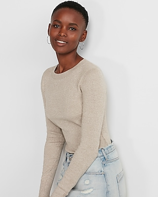 Express Womens Marled Fitted Crew Neck Sweater