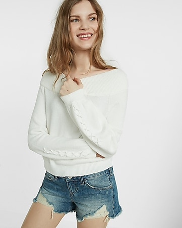 lace-up balloon sleeve sweater