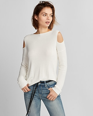 Express Womens Cold Shoulder Pullover Sweater