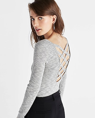 marled strappy back scoop neck sweater