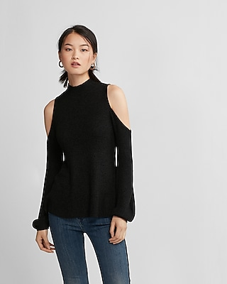 Express Womens Cold Shoulder Mock Neck Sweater