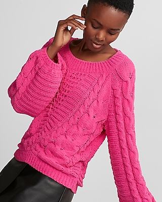 Express Womens Cable Knit Chenille Boat Neck Balloon Sleeve Sweater