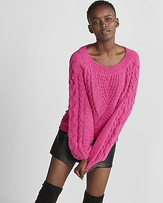 Express Womens Express Womens Petite Cable Knit Matte Chenille Balloon Sleeve Sweater