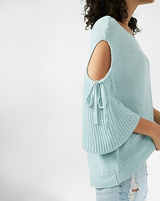Drop Shoulder Cutout Flare Sleeve Pullover Sweater