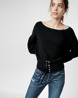 Express Womens Corset Puff Sleeve Sweater