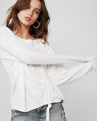 Express Womens Asymmetrical Ruched Pullover Sweater