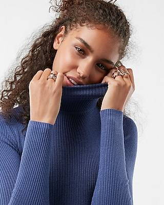 Express Womens Ribbed Turtleneck Sweater Blue Women's S Blue S 11959748