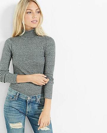 marled ribbed turtleneck sweater