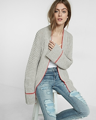 Express Womens Chunky Knit Coatigan Neutral XS/S
