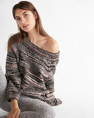 Express Womens Petite Volume Sleeve Off Shoulder Sweater