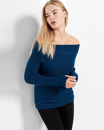 shaker knit off the shoulder pullover sweater
